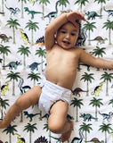 Dino Raw Bed - Fitted Cot Sheet - Jungle Dino Palm