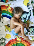 Dino Raw Bed - Single Quilt Cover - Rainbow Dinosaur Dreaming - Available for PRE-ORDER