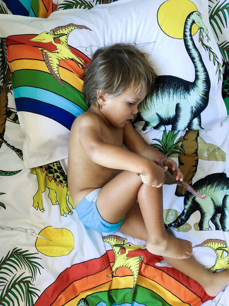 Dino Raw Bed - Single Pillowcase - Rainbow Dinosaur Dreaming