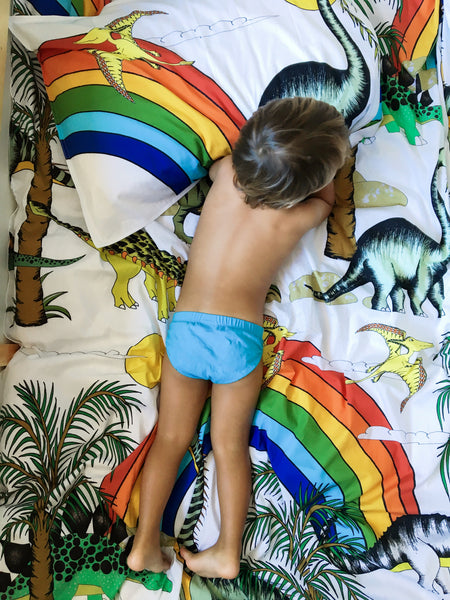 Dino Raw Bed - Single Quilt Cover - Rainbow Dinosaur Dreaming