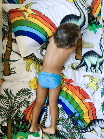 Dino Raw Bed Linen - Single Quilt Set - Rainbow Dinosaur Dreaming - Available For PRE-ORDER