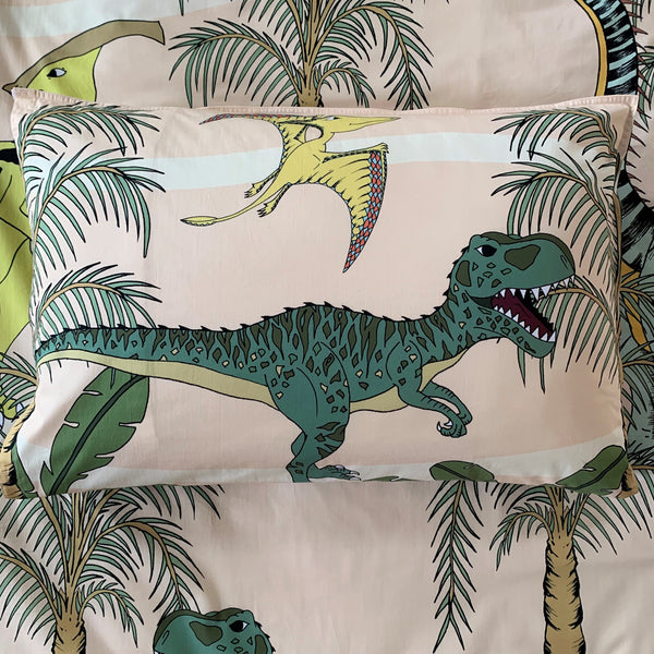 Dino Raw Bed - Single Pillowcase - Cotton - Dinosaur Dune