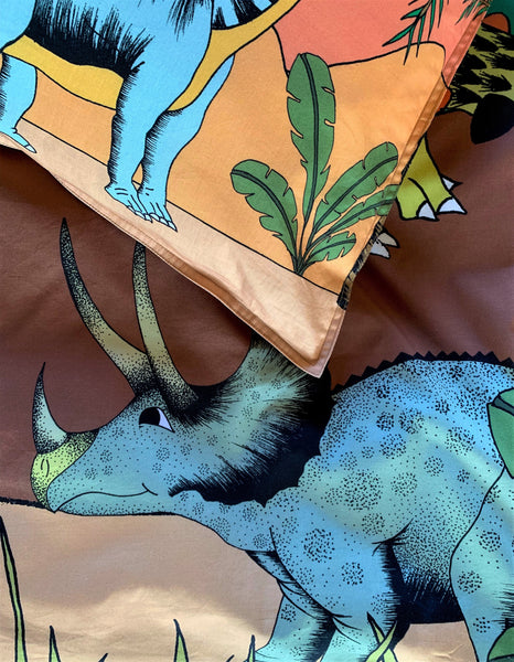 Dino Raw Bed - Single & Double Quilt Cover - Dinosaur Oasis