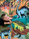 Dino Raw Bed - Single & Double Quilt Cover - Dinosaur Oasis - Available For Pre-Order