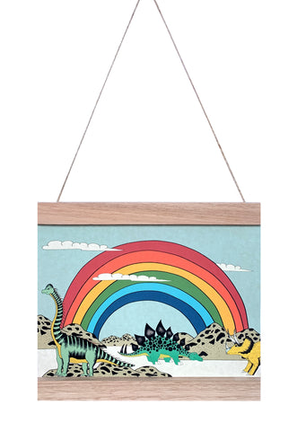 Dino Mini - Art Hanger - Rainbow Dinosaur Dreaming