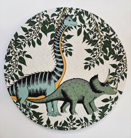 Wooden Dinosaur Plaque - In The Jungle Triceratops & Brachiosaurus