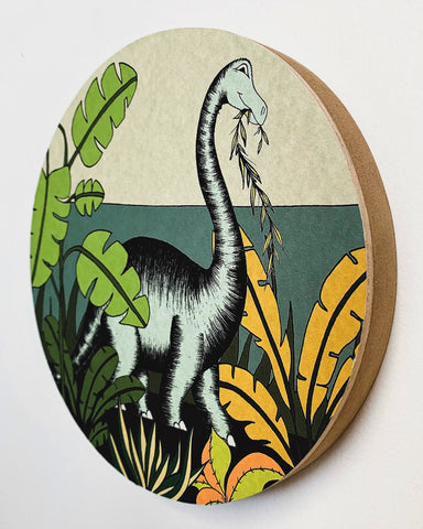 Wooden Dinosaur Plaque - In The Jungle Brontosaurus