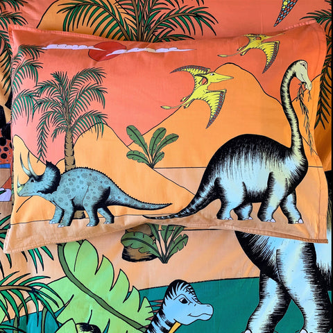 Dino Raw Bed Linen - Single Pillowcase - Dinosaur Oasis