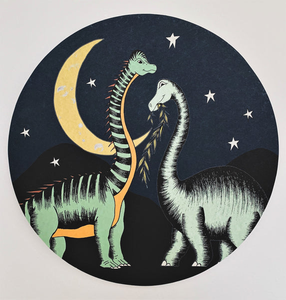 Wooden Dinosaur Plaque - Stars & Moon