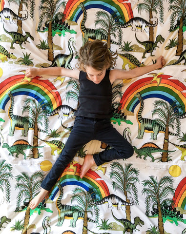 Dino Raw Bed - Double / King Single Quilt - Rainbow Dinosaur Dreaming - Available For Pre-Order