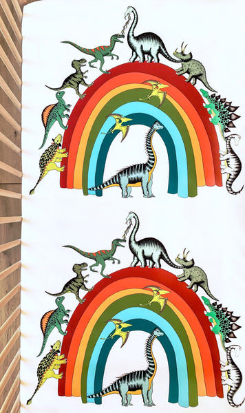 Dino Raw Bed - Fitted Cot Sheet - Rainbowsaurus