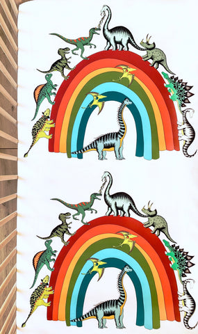 Dino Raw Bed - Fitted Cot Sheet - Rainbowsaurus - Available for Pre-Order