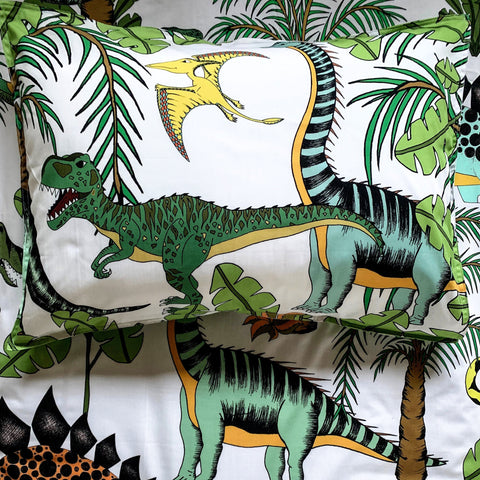 Dino Raw Bed - Single Pillowcase - Cotton - Dinosaur Wonderland - Available For Pre-Order
