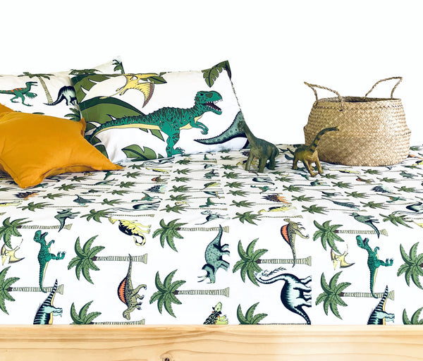 Dino Raw Bed - Single Bed Fitted Sheet - Jungle Dino Palm