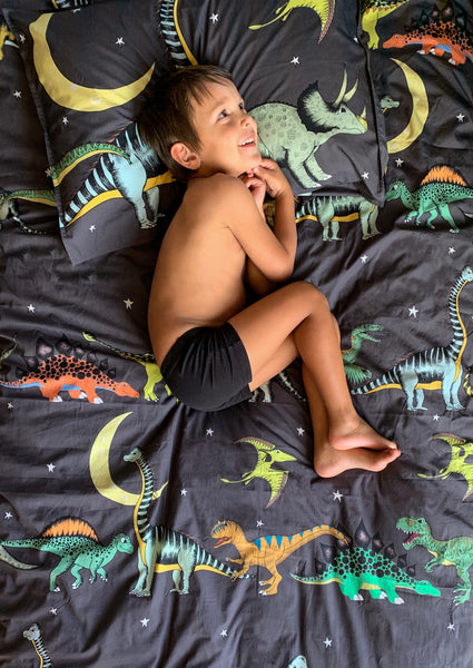 Dino Raw Bed - Double / King Single Quilt Cover - Dino Starry Nights - Available for Pre-Order