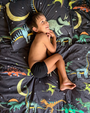 Dino Raw Bed - Single Quilt Cover - Dino Starry Nights - Available For Pre Order