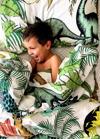 Dino Raw Bed - Single Quilt Cover - Linen Blend - Dinosaur Wonderland - Available For Pre-Order