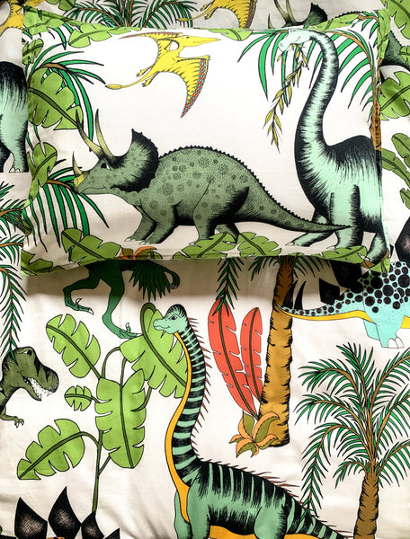 Dino Raw Bed - Single Quilt Cover - Linen Blend - Dinosaur Wonderland