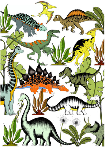 Print - In The Jungle Wandering Dinosaurs