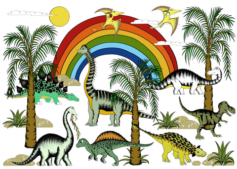 Print - Rainbow Dinosaur Jungle