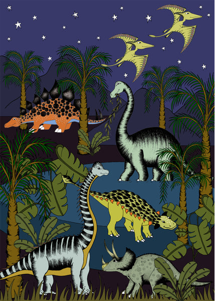 Poster - Dinosaur Oasis - Starry Nights