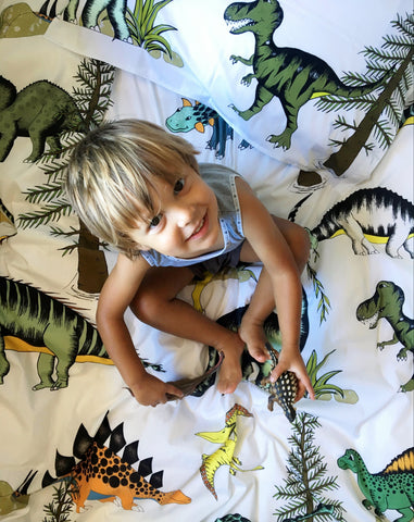 Dino Raw Bed Linen - Single Quilt Set - Dinosaur Adventures