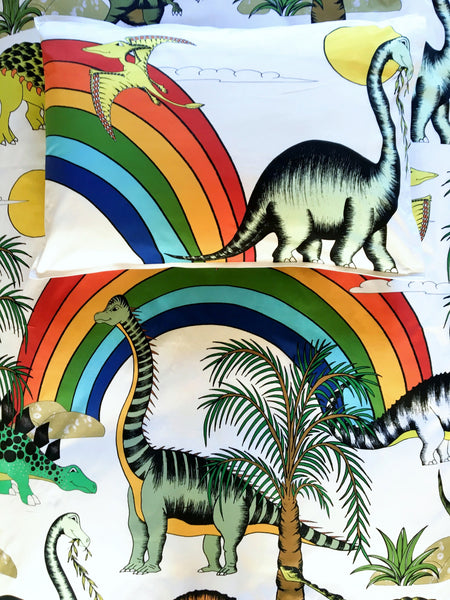 Dino Raw Bed Linen - Double / King Single Single Quilt Set - Rainbow Dinosaur Dreaming - Available for Pre-Order