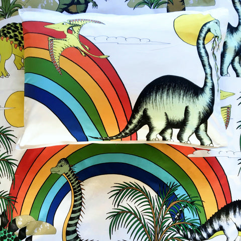 Dino Raw Bed Linen - Single Pillowcase - Rainbow Dinosaur Dreaming - Available For Pre-Order