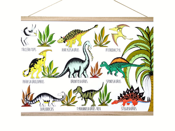 Art Hanger - In The Jungle Dinosaur Name Chart - 50cm x 70cm