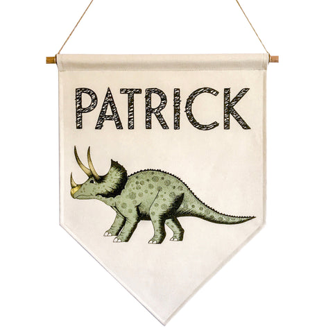 Personalised Dinosaur Name Banner - Triceratops