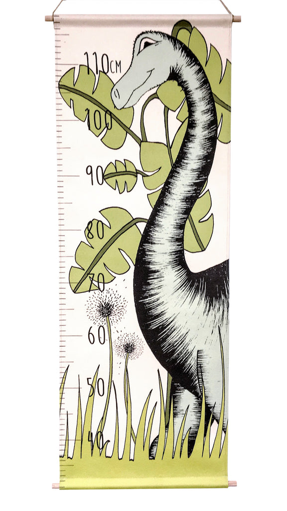 Dinosaur Growth Chart Canvas In The Jungle Brontosaurus Dino Raw