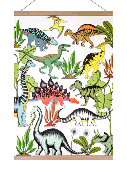 Art Hanger - In The Jungle Wandering Dinosaurs - Large 50cm x 70cm