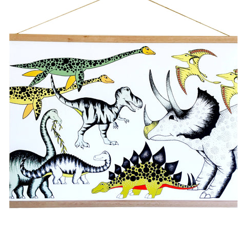 Art Hanger - Triceratops & His Friends - Large - 50cm x 70cm
