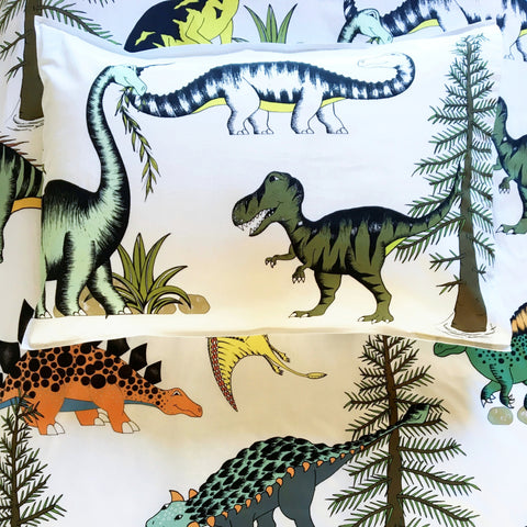 Dino Raw Bed Linen - Single Pillowcase - Dinosaur Adventures - Available For Pre-Order