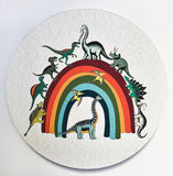 Wooden Dinosaur Plaque - Rainbowsaurus
