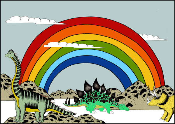 Poster - Rainbow Dinosaur Dreaming Poster / Large / 50cm x 70cm