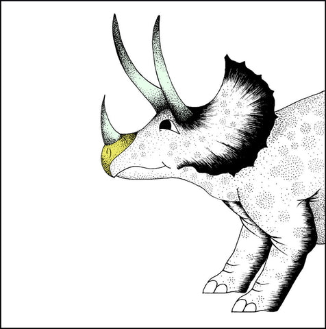 Square Poster Print / Pouncing Triceratops