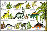 In The Jungle Dinosaur Name Chart / A1 / A2 / 50cm x 70cm