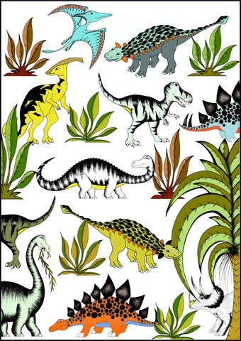 In The Jungle Wandering Dinosaurs / Large / A1 / 50cm x 70cm