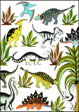 Art Hanger - In The Jungle Wandering Dinosaurs - Large A1