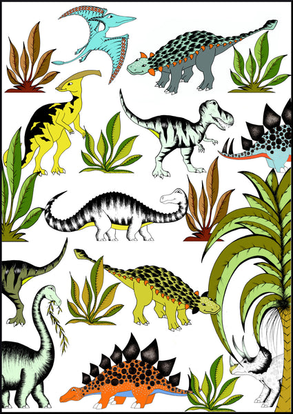 Art Hanger In The Jungle Wandering Dinosaurs - Large - 50cm x 70cm