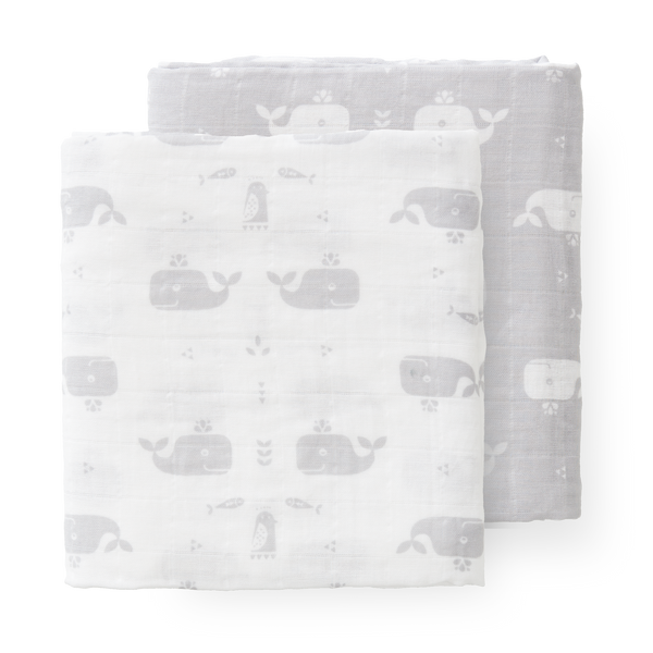 Swaddle set 2 st. 120x120 cm Whale dawn grey