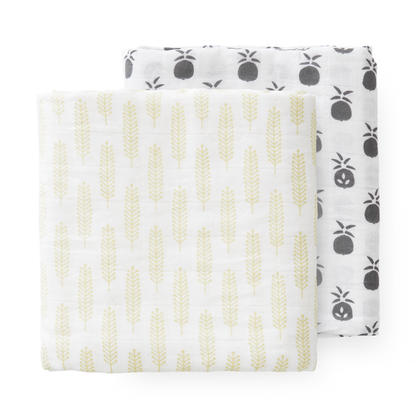 Swaddle set 2 st. 120x120 cm Pineapple
