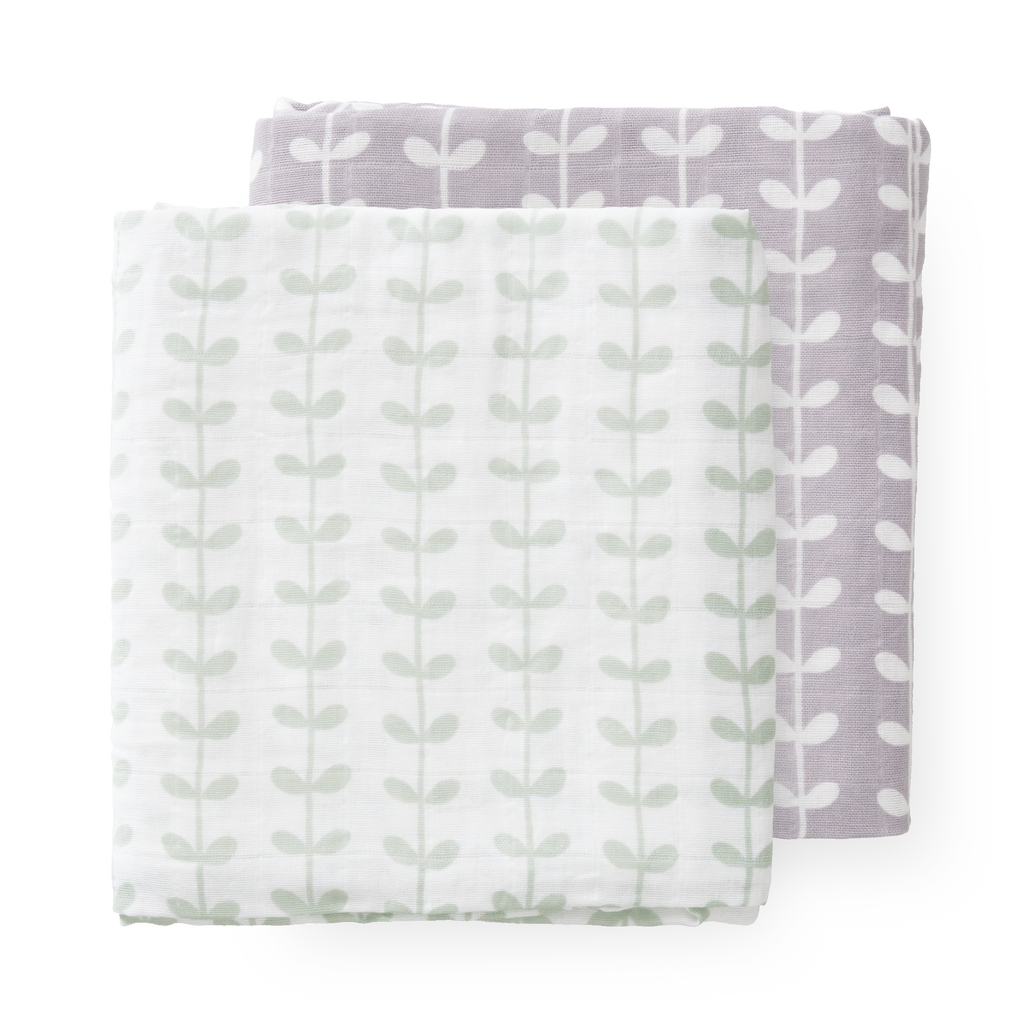 Swaddle set Leaves Mint (2 stuks)