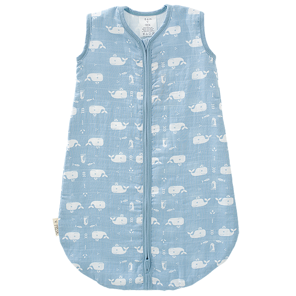 Slaapzak muslin 2-laags  Whale dawn blue
