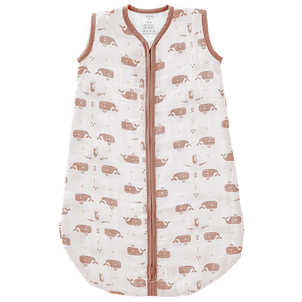 Slaapzak muslin 2-laags Whale mellow rose/wit