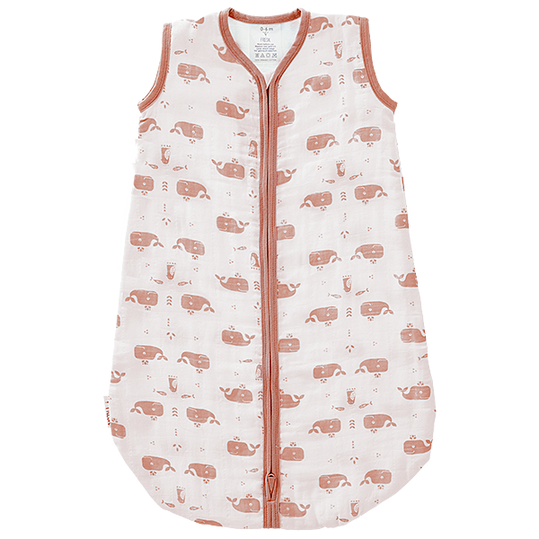 Slaapzak muslin 2-laags Whale Mellow Rose Wit