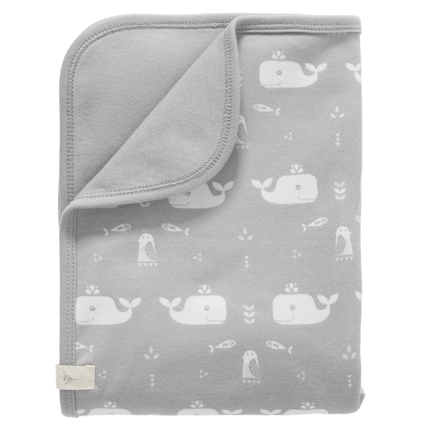 Babydeken Whale dawn grey