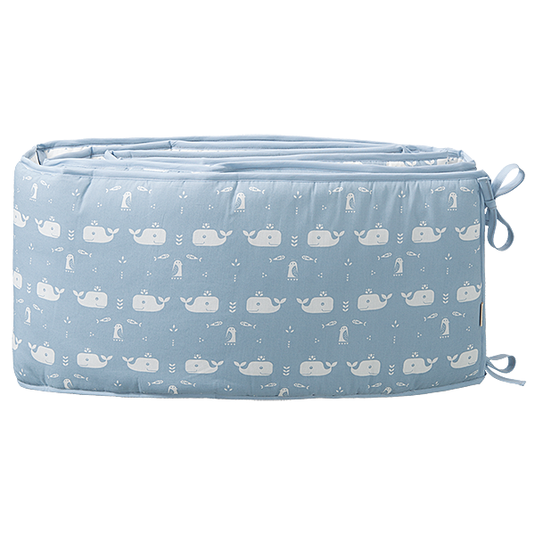 Baby bed bumper 180 cm Whale blue fog