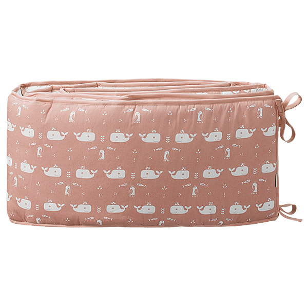 Baby bed bumper 180 cm Whale mellow rose